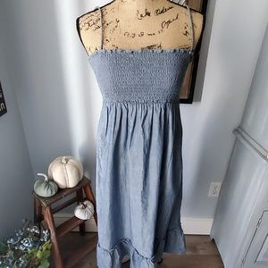 Old Navy chambray denim dress with smocked top